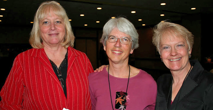 Photo of Sharon Anderson, Patty Biasca and Vicki Garrett, Registrar